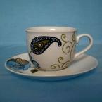 Puodeliai su lekštute arbatai (kompl, 12vnt)